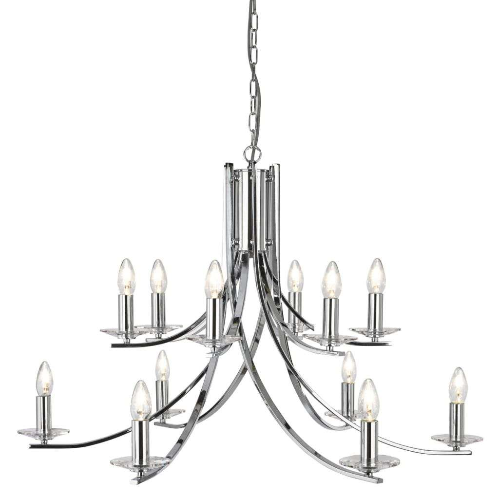 Ascona 12 Light Ceiling, Chrome Twist Frame With Clear Glass Sconces