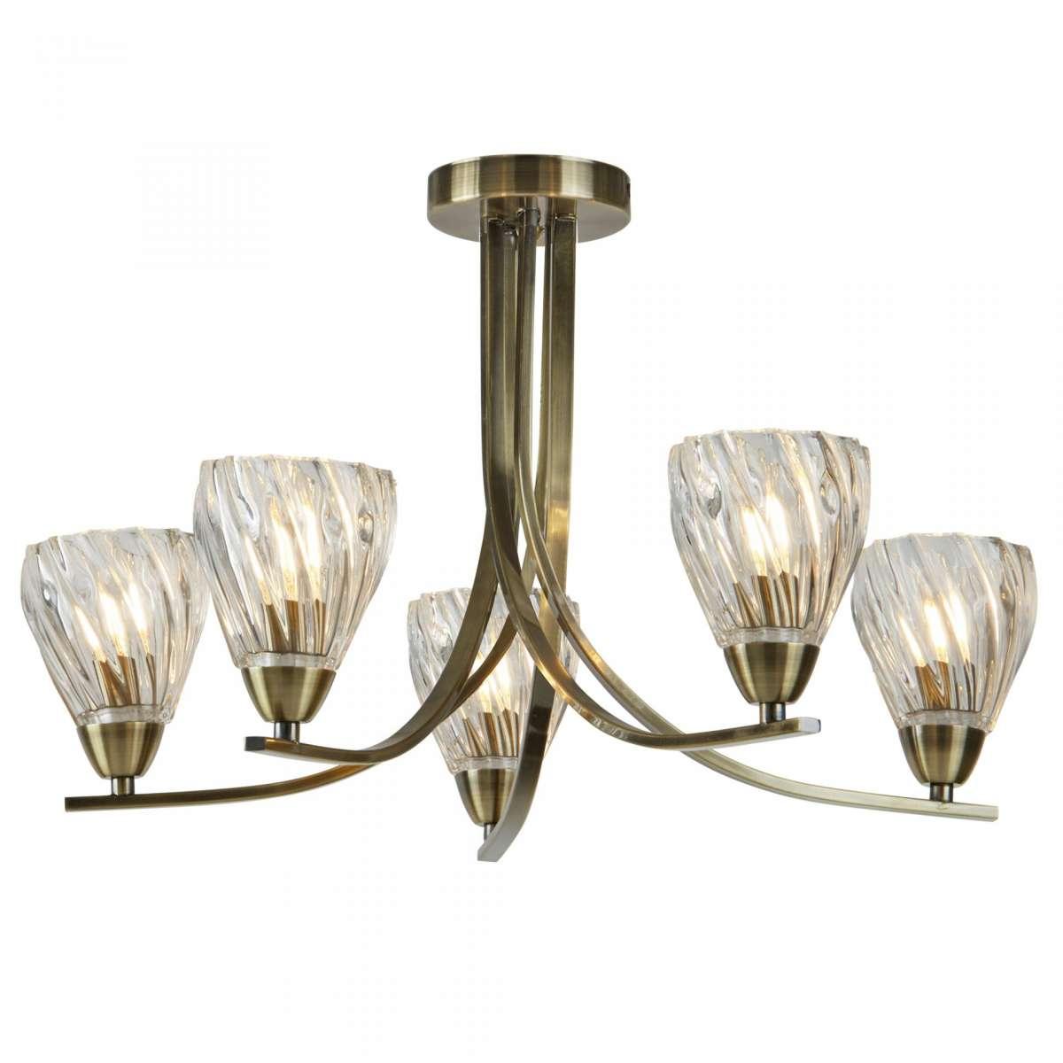 Ascona - 5 light Ceiling Semi-Flush, Antique Brass Twist Frame