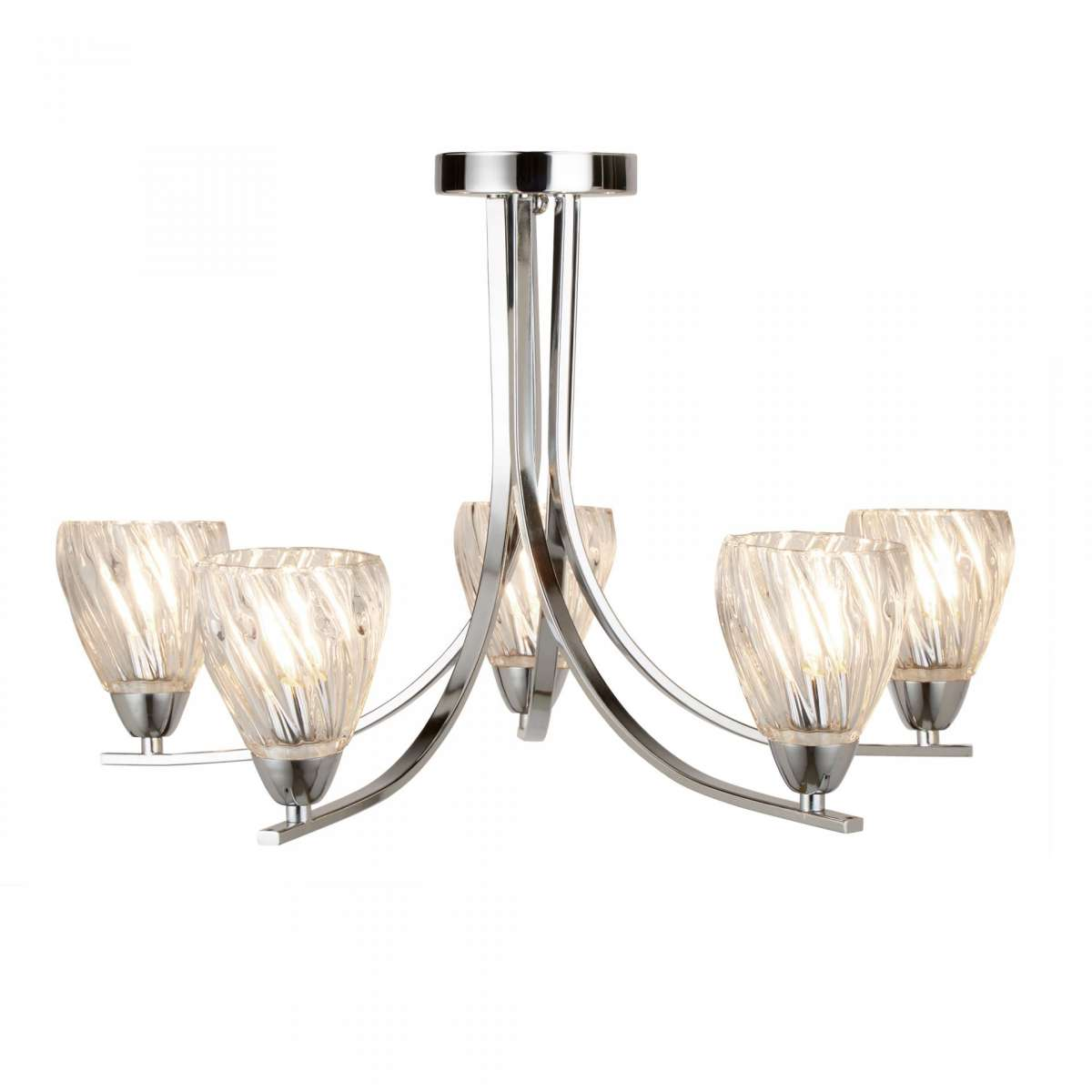 Ascona - 5 light Ceiling Semi-Flush, Chrome Twist Frame