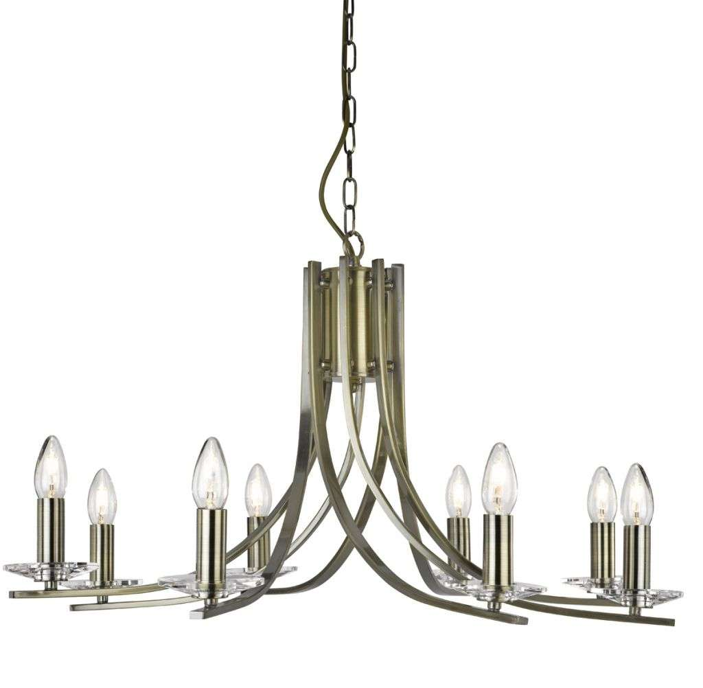 Ascona Antique Brass 8 Light Ceiling Fitting with Clear Glass Sconces