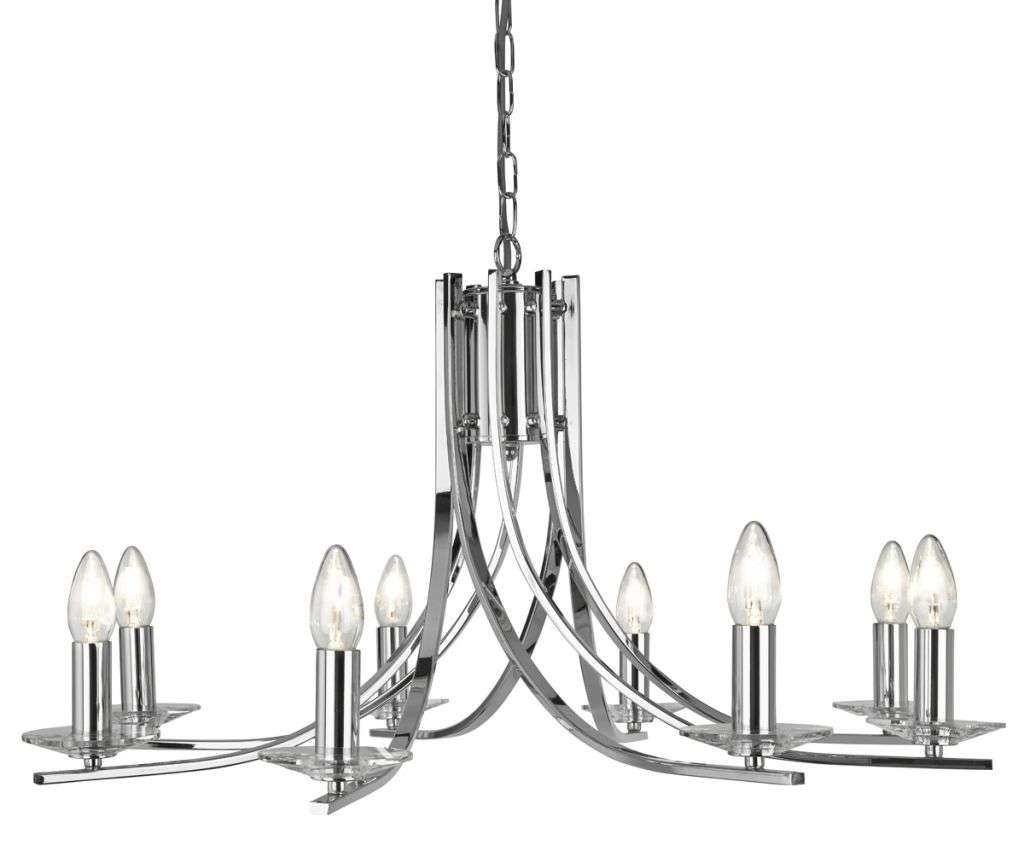 Ascona Chrome 8 Light Ceiling Fitting with Clear Glass Sconces