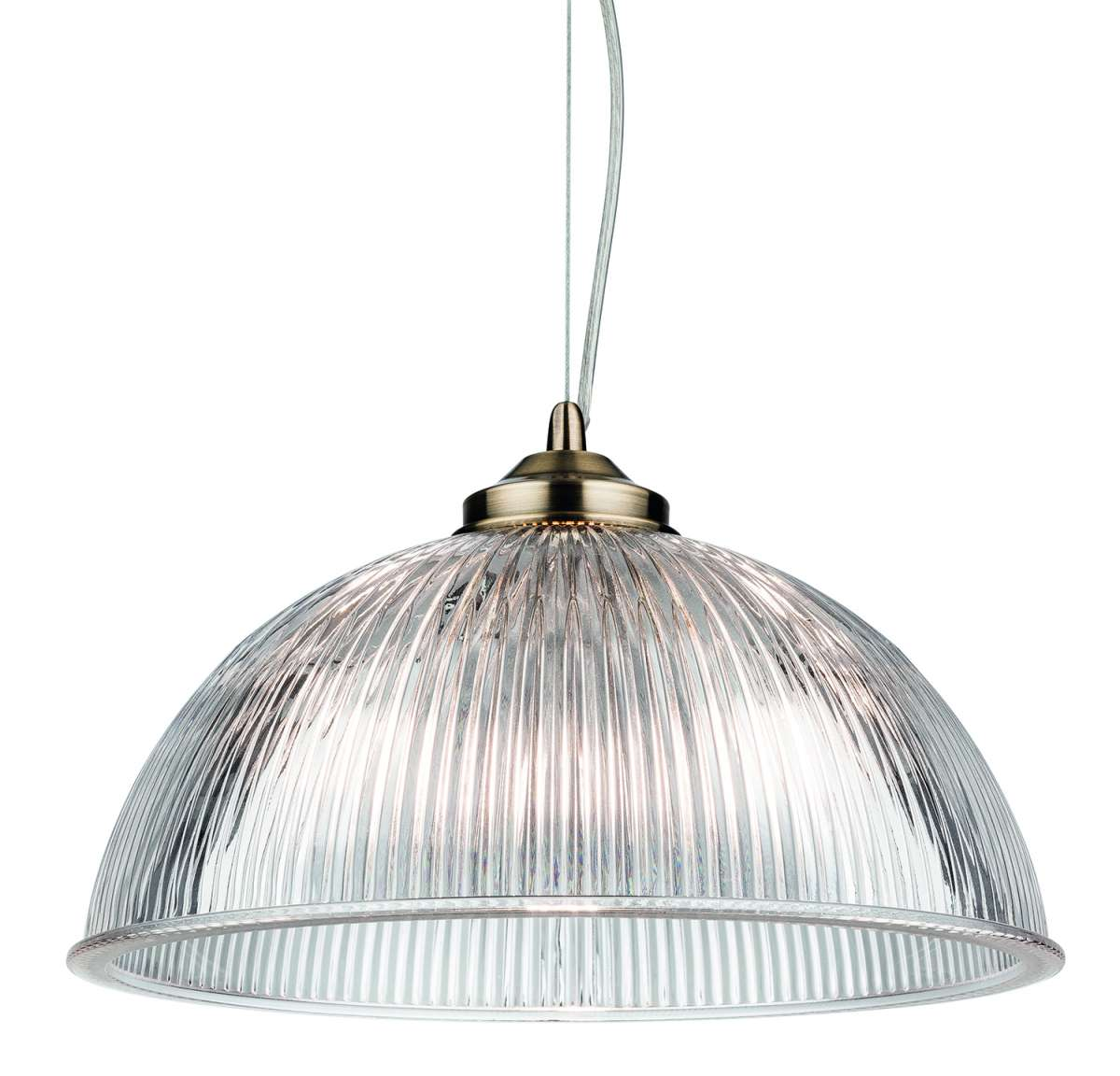 Ashford Single Pendant in Antique Brass with Ribbed Glass