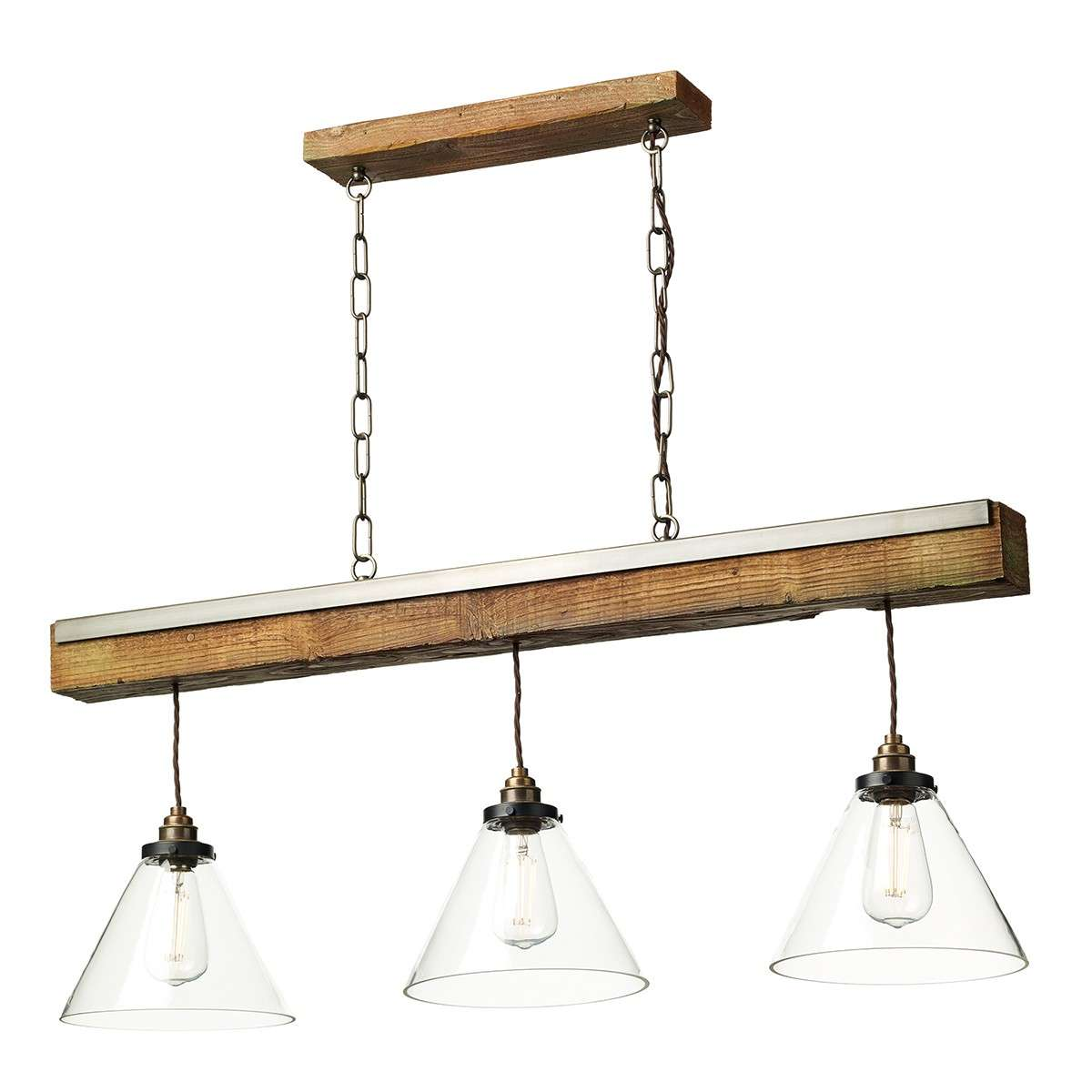 Aspen 3 Light Wood Beam Pendant