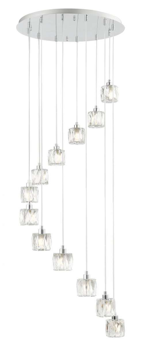 Aurora 12 Light Extra Small Spiral Crystal Pendant Lights On