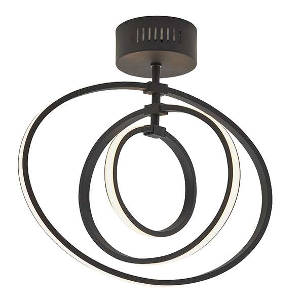 Avali 3 Light Hoop Semi Flush in Matt Black Finish 21W Warm White