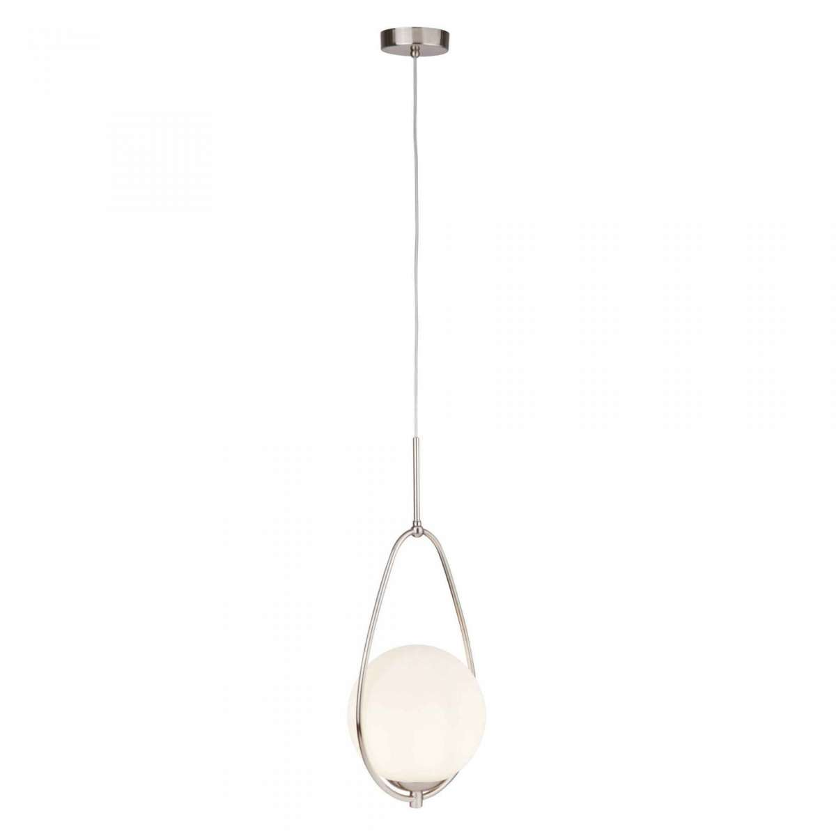 Searchlight 9171 1ss Avalon Single Ball Pendant Satin Silver With Opal Glass Online Lighting Shop