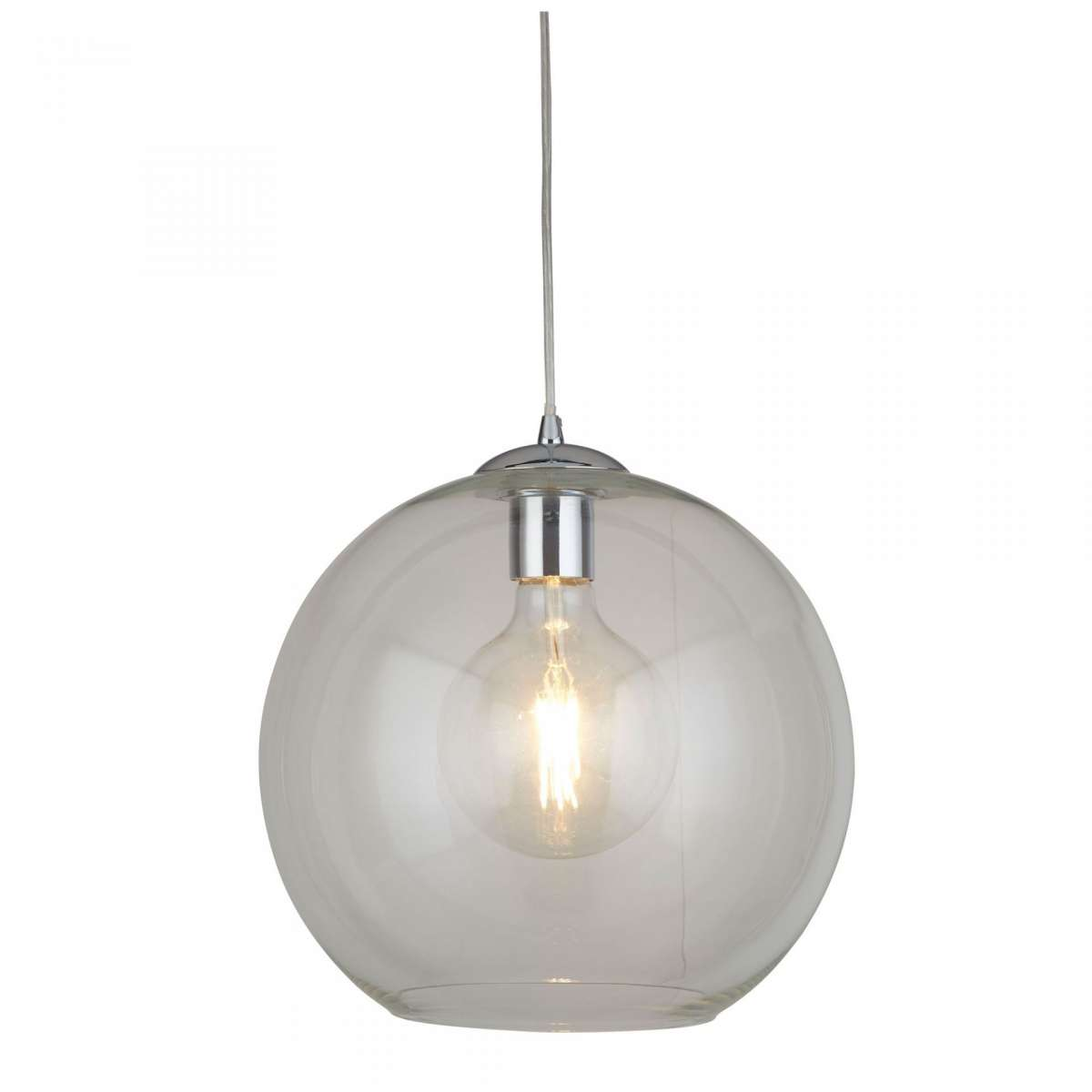 Balls Singe Pendant Round 250mm Clear Glass Chrome