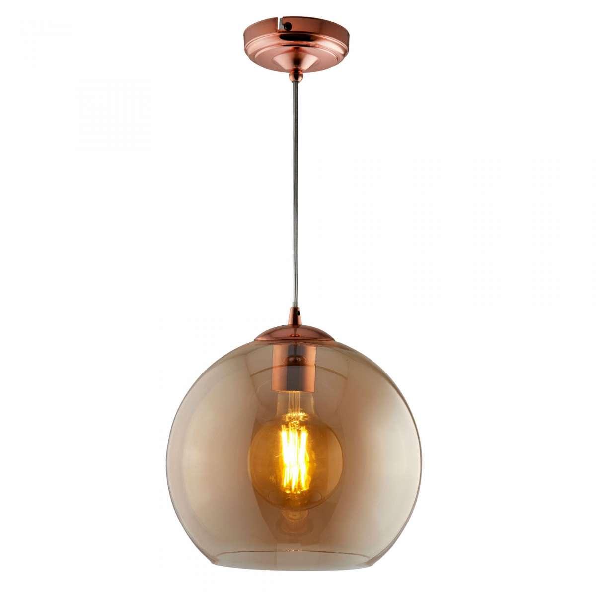 Balls Singe Pendant Round 350mm Amber Glass Antique Brass
