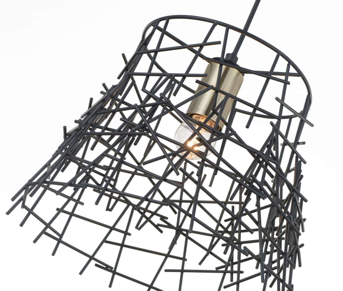 Bambu 1 Light Black Metal Pendant Antique Brass
