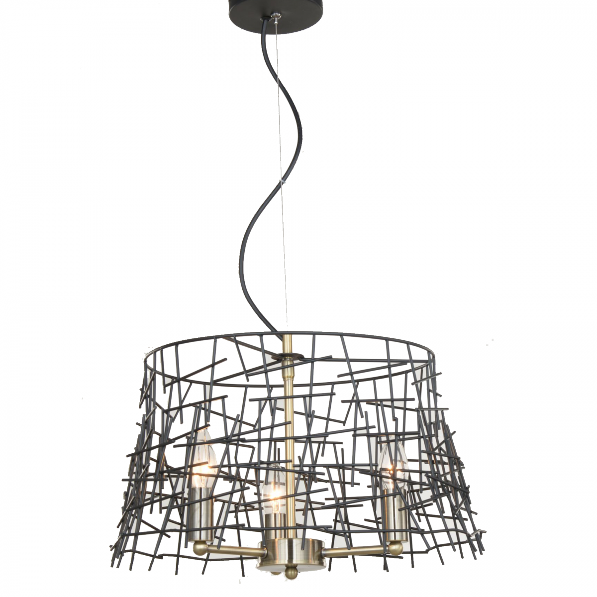 Bambu 3 Light Black Metal Pendant Antique Brass