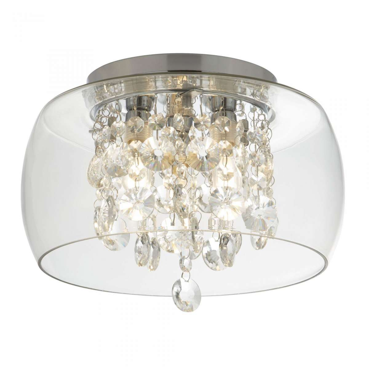 Bathroom Clear Glass Shade 3 Light Fluh With Crystal Drops