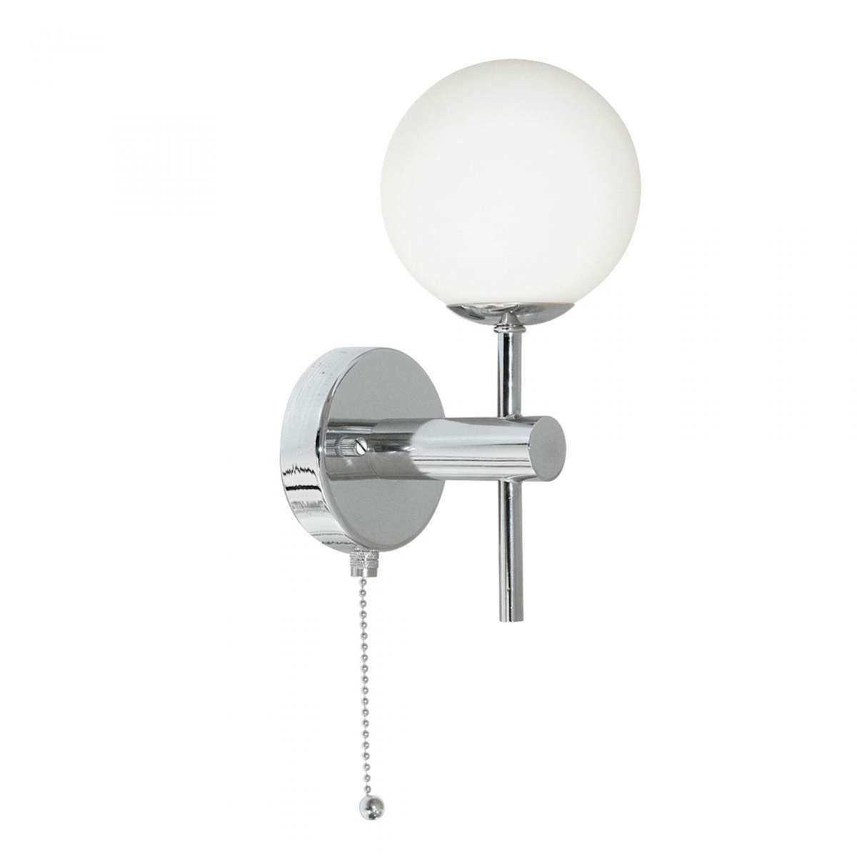 Bathroom IP44 Global Chrome Wall Bracket With Opal Glass
