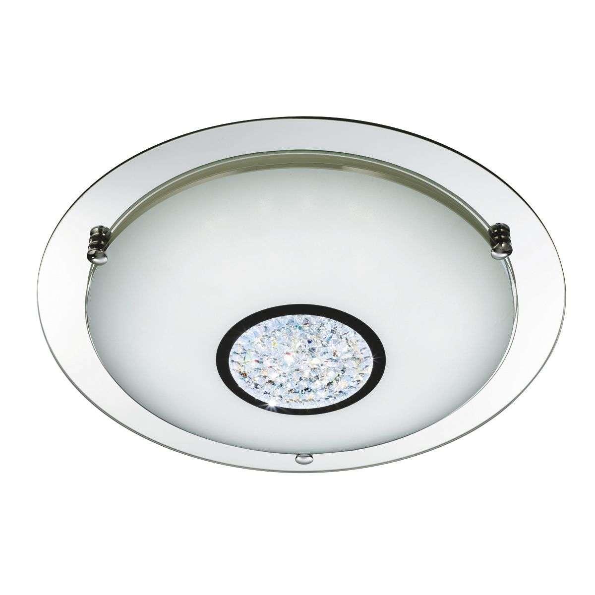 Bathroom IP44 LED Flush 310mm Chrome Mirror Halo