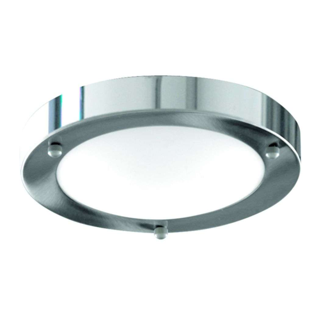 Bathroom Ip44  1 Light - 31Cm Chrome Domed Whit E Glass Flush