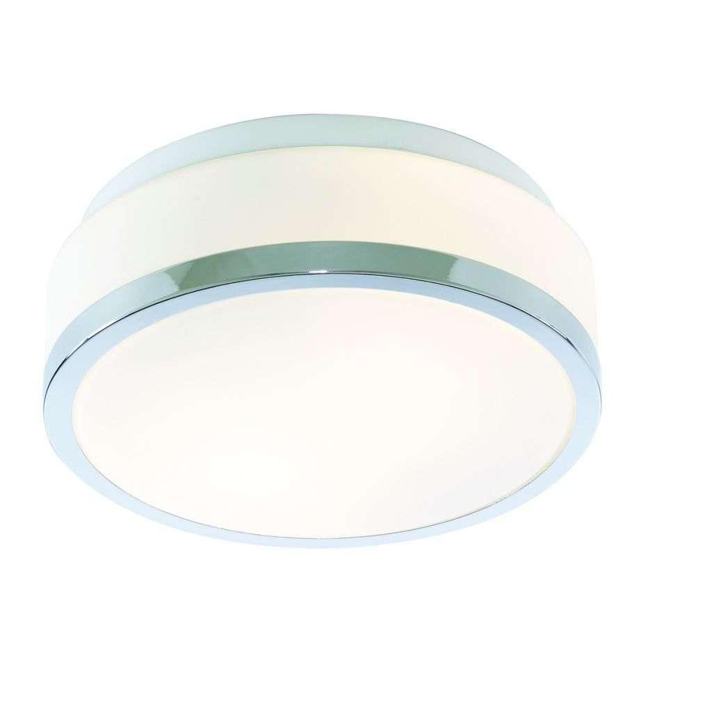 Bathroom - Ip44 2 Light Flush, Opal White Glass Shade With Chrome Trim