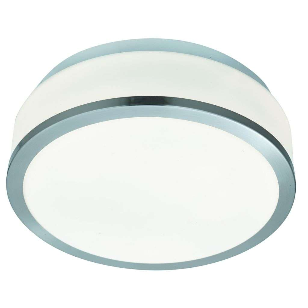Bathroom - Ip44 2 Light Flush, Opal White Glass Shade With Satin Silver Trim