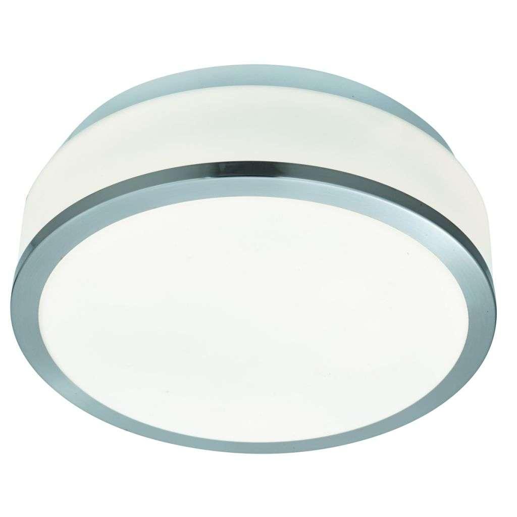 Bathroom - Ip44 2 Light Flush, Opal White Glass Shade With Satin Silver Trim