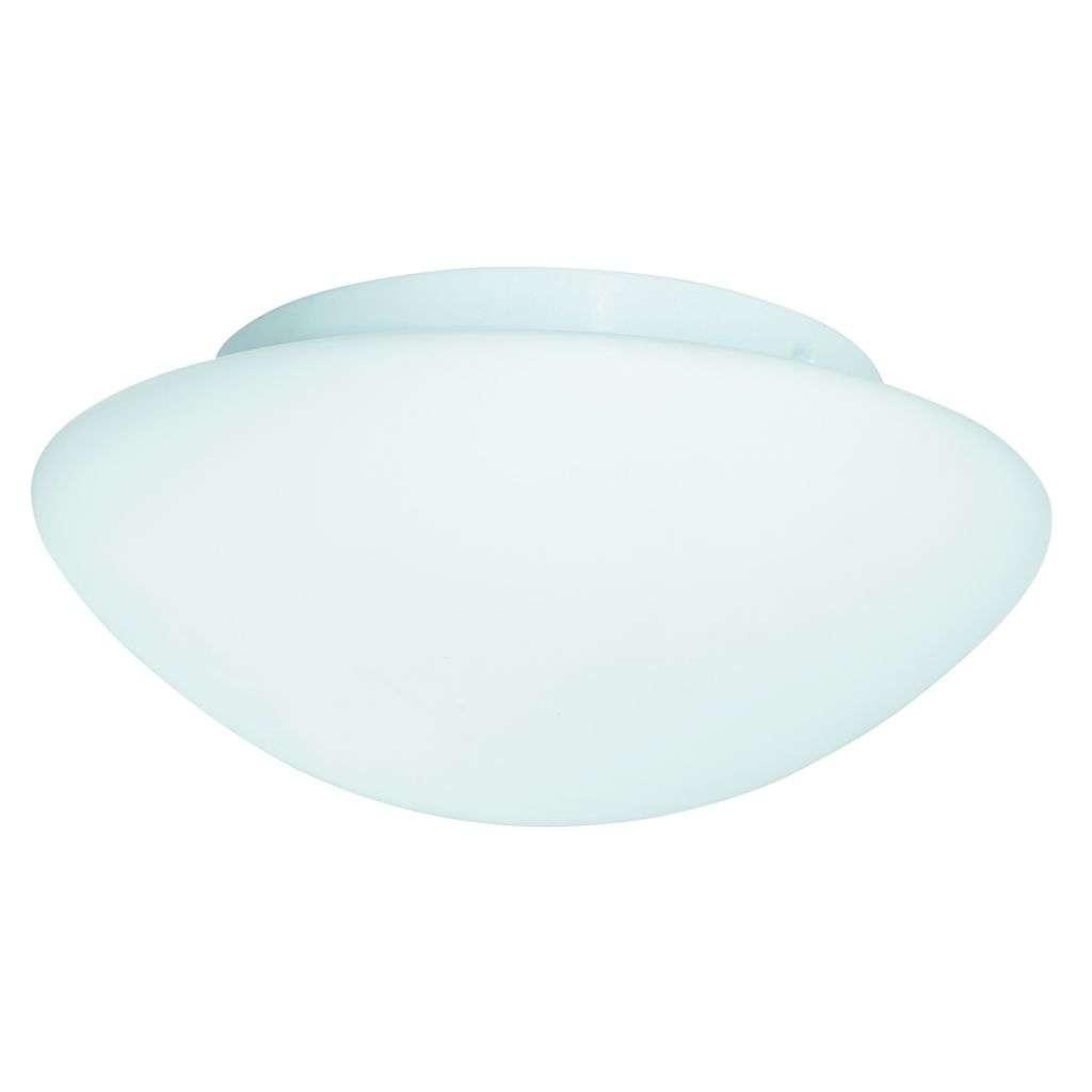 Bathroom Ip44 2 Light - White Flush Opal Glass Fitting 28Cm