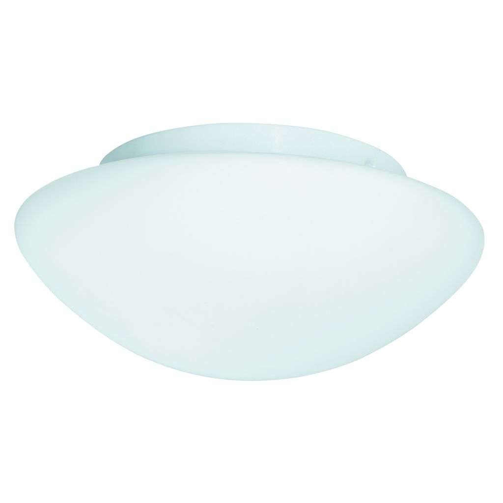 Bathroom White Glass Flush Fitting - 35Cm Dia