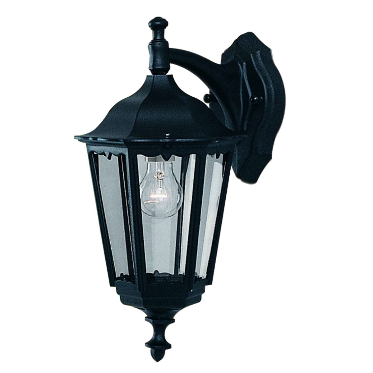 Bel Aire Ip44 Black Outdoor Wall Downlight With Clear Glass