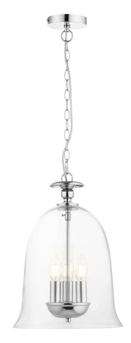 Bell 3 Light Clear Glass Pendant Polished Chrome