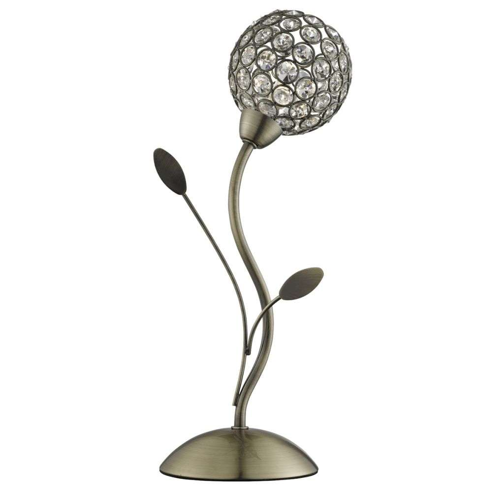 Bellis Ii 1 Light Table Lamp, Antique Brass With Clear Glass Deco Shade