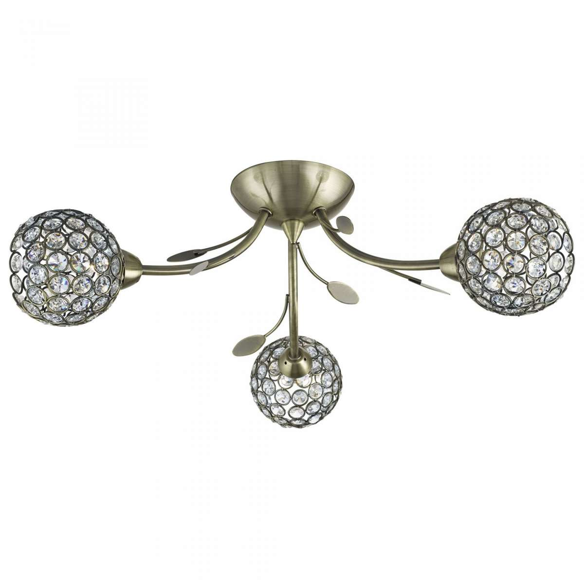 Bellis Ii 3 Light Ceiling Antique Brass Semi-Flush