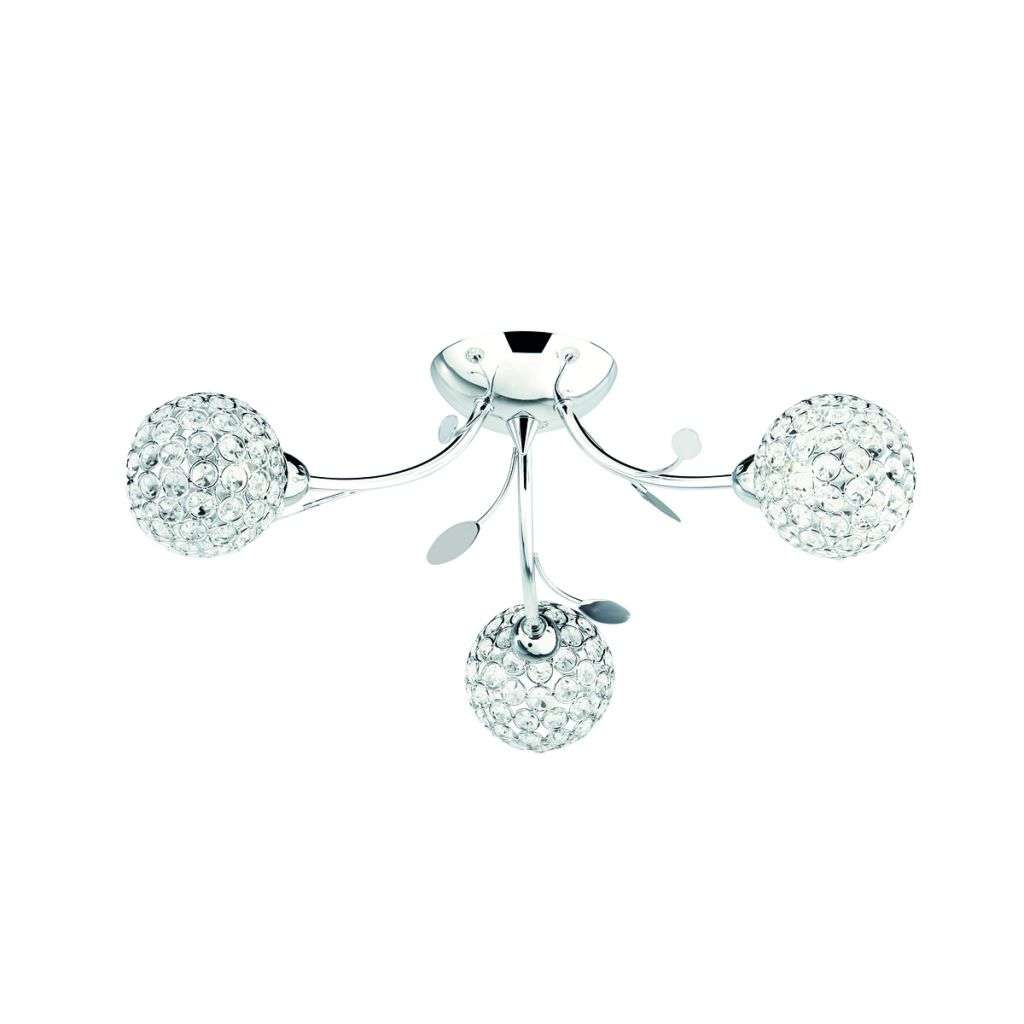 Bellis Ii 3 Light Semi-Flush Ceiling Light Chrome With Glass Shades