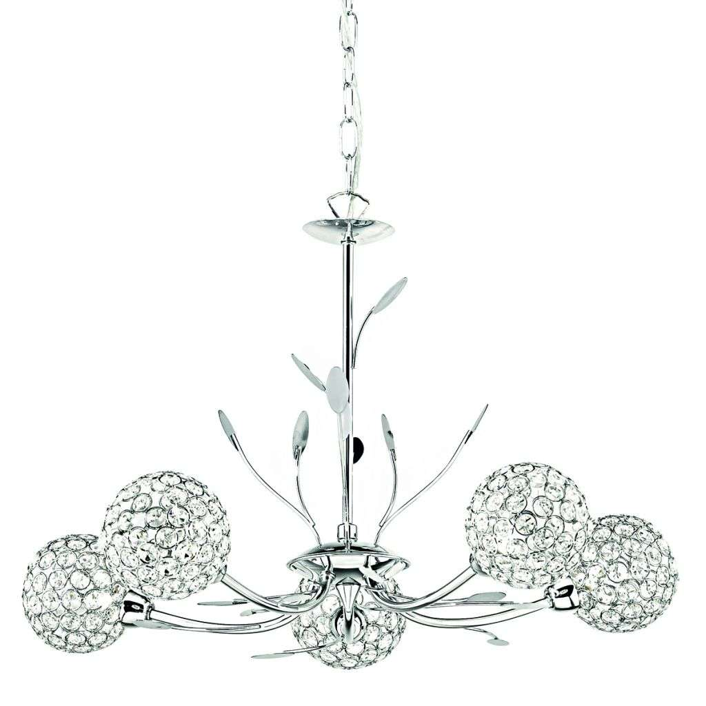 Bellis Ii 5  Light Ceiling Pendant Chrome With Clear Glass Deco Shades