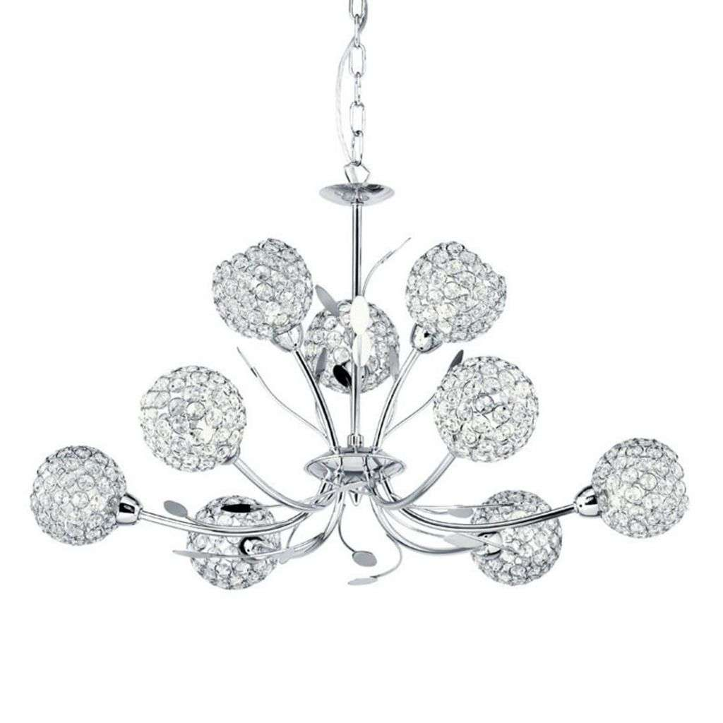 Bellis Ii 9  Light Ceiling Pendant Chrome With Clear Glass Deco Shades