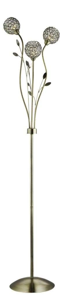 Bellis Ii 3 Light Floor Lamp, Antique Brass With Clear Glass Deco Shades