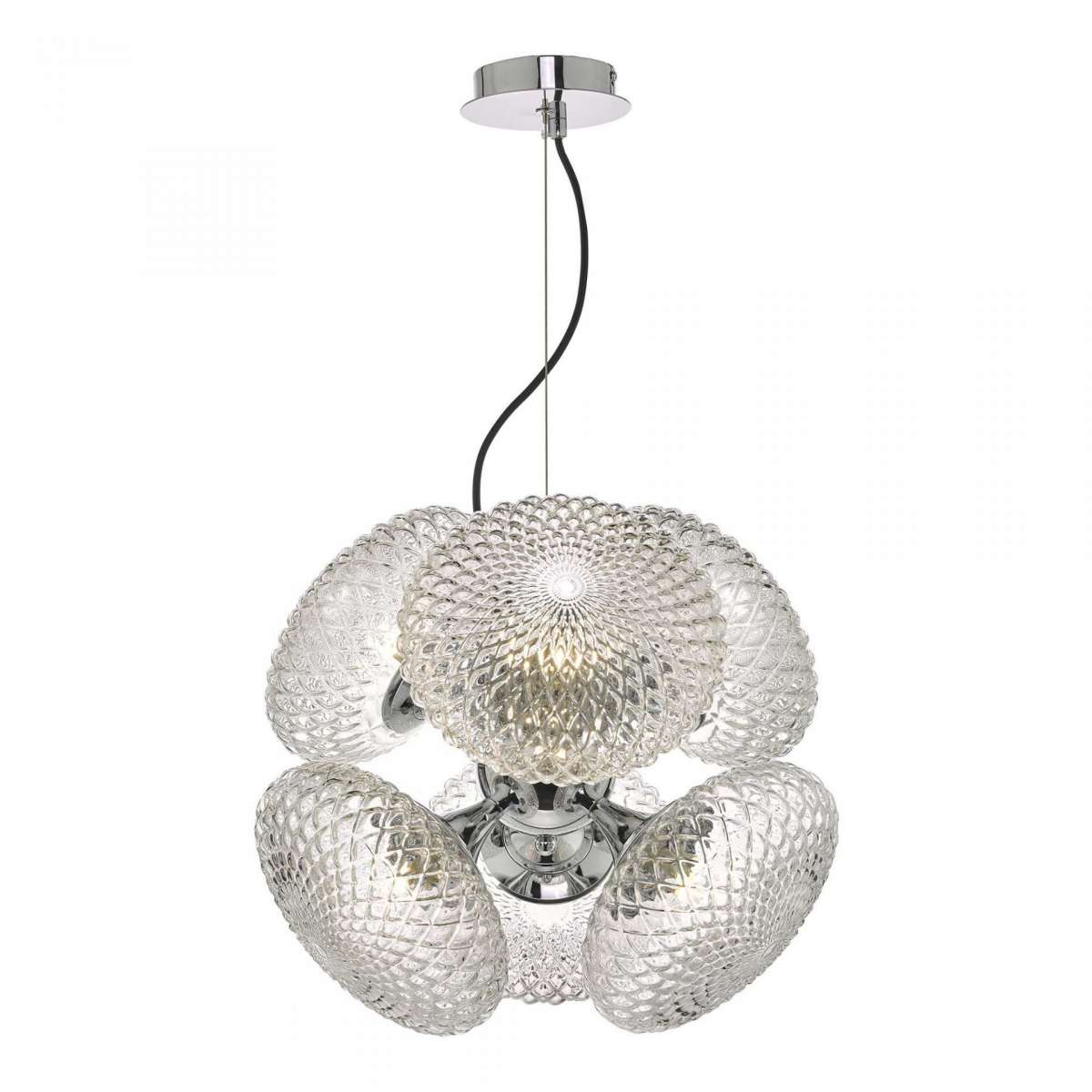 Bibiana 6 Light Pendant Polished Chrome And Clear Glass