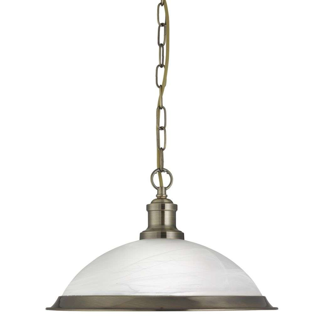 Bistro 1 Light Industrial Pendant Antique Brass, Marble Glass Shade, Antique Brass Trim