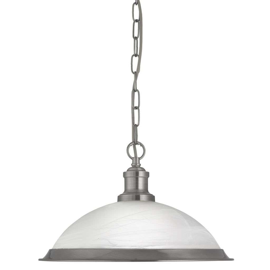 Bistro 1 Light Industrial Pendant Satin Silver, Marble Glass Shade, Satin Silver Trim