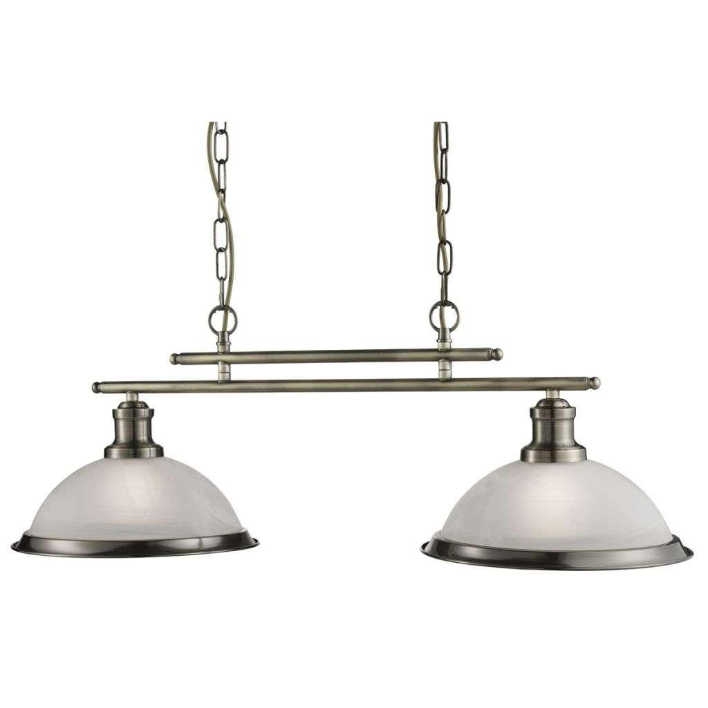 Bistro 2 Light Industrial Ceiling Bar, Antique Brass, Marble Glass Shade, Antique Brass Trim