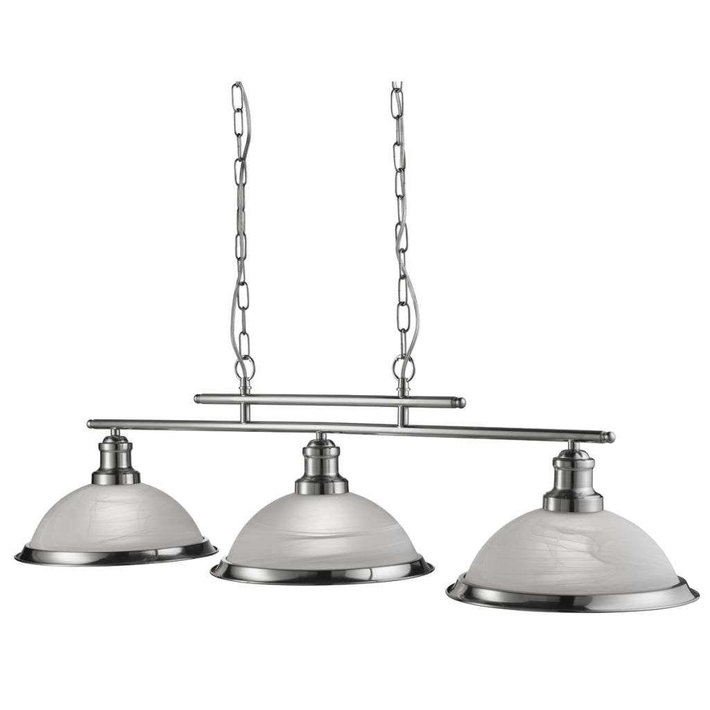 Bistro 3 Light Industrial Ceiling Bar, Satin Silver, Marble Glass Shade, Satin Silver Trim