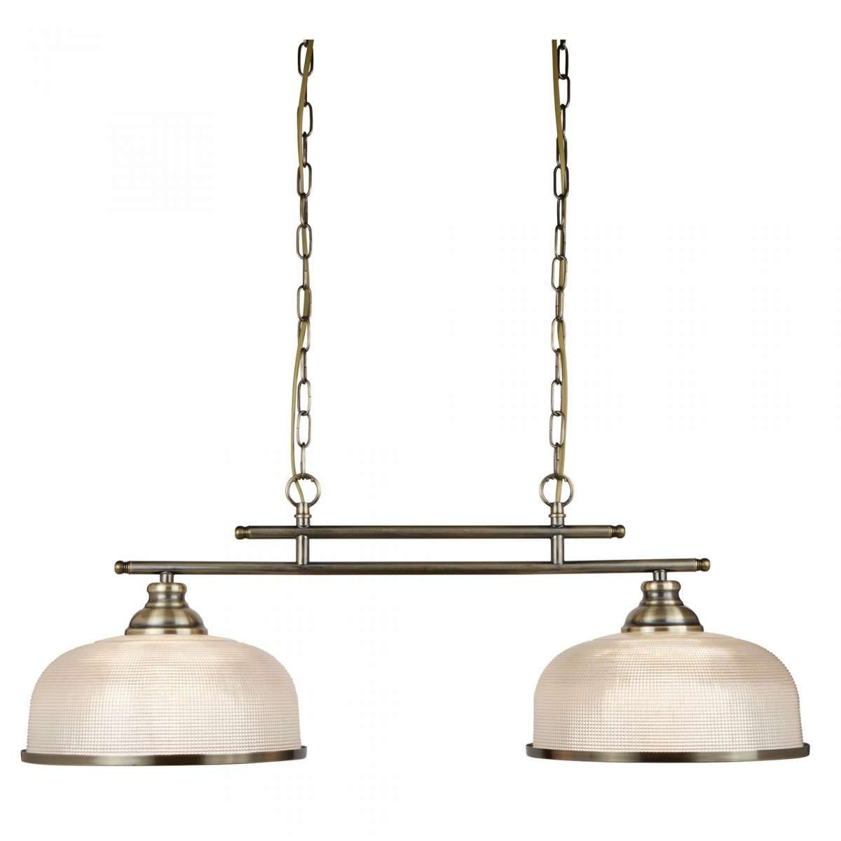 Bistro - 2 Light Ceiling Bar, Antique Brass, Halophane Glass