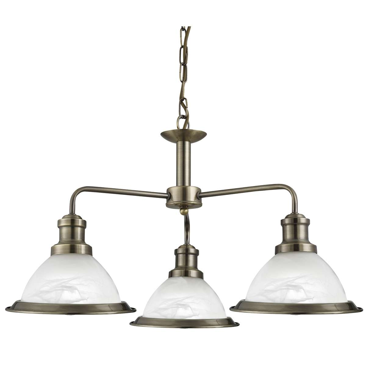 Bistro Antique Brass 3 Light Ceiling Fitting With Acid Glass Shades