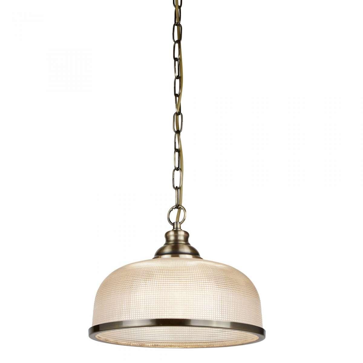 Bistro II 1 Light Pendant Antique Brass With Halophane Glass