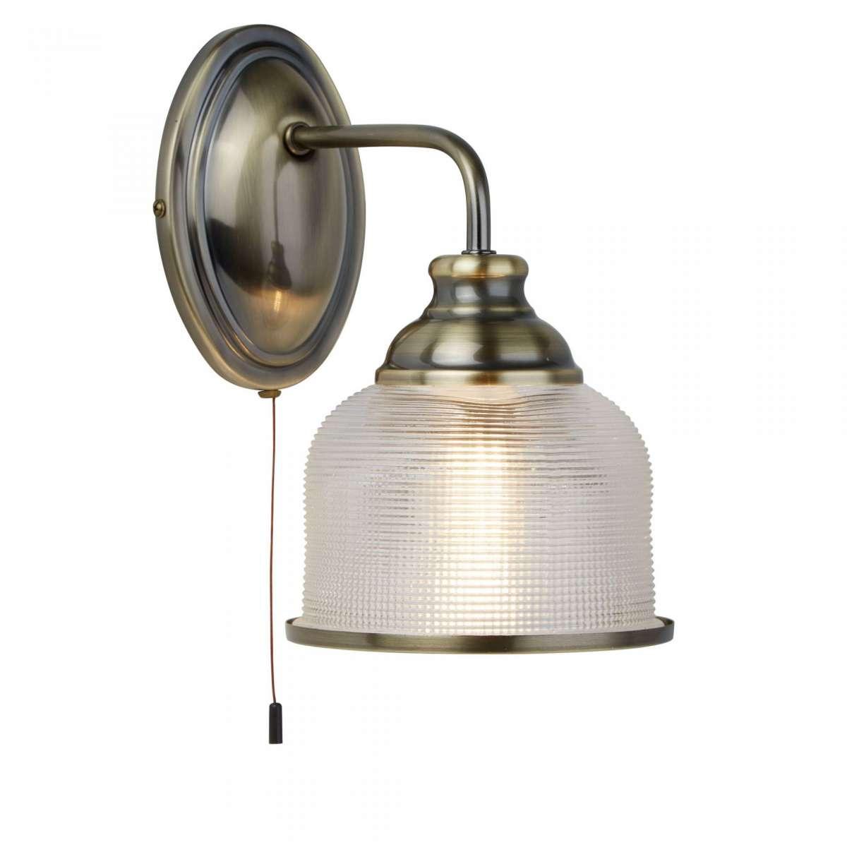Bistro II 1 Light Wall Bracket Antique Brass With Halophane Glass