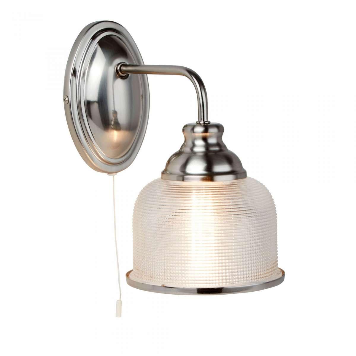 Bistro II 1 Light Wall Bracket Satin Silver With Halophane Glass