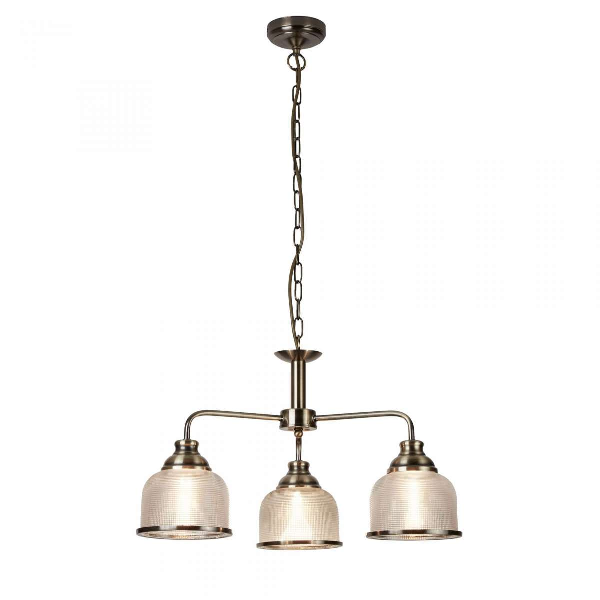 Bistro II 3 Light Ceiling Antique Brass With Halophane Glass