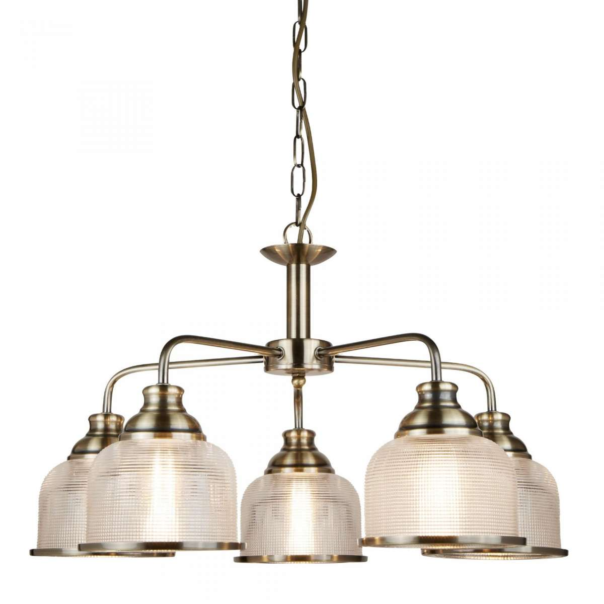 Bistro II 5 Light Ceiling Antique Brass With Halophane Glass