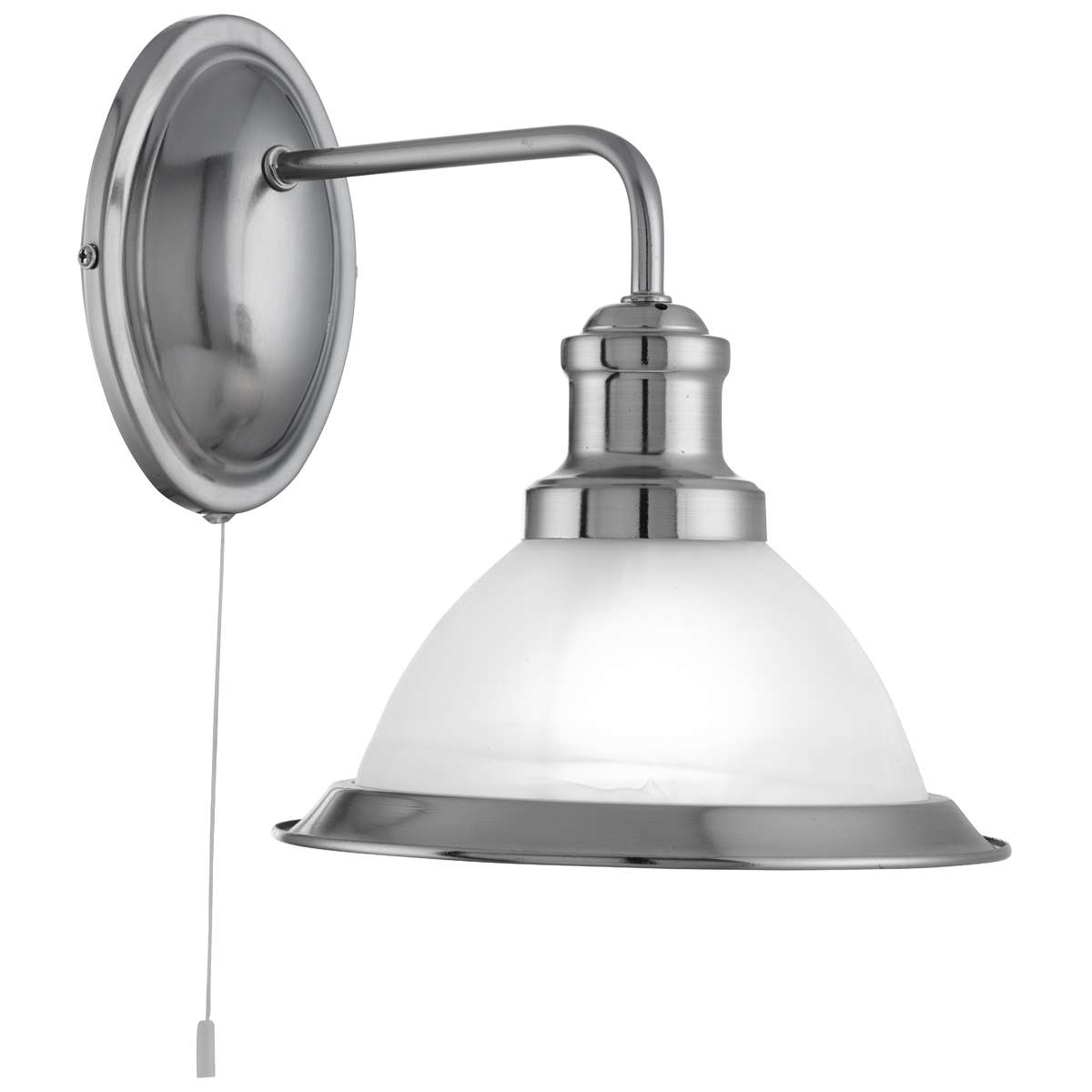 Bistro Satin Silver Wall Light With Acid Glass Shade