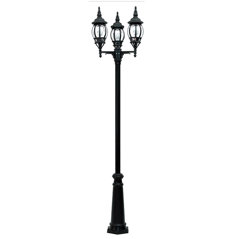 Black Duralighting Non Rust Tall 3-Bulb Standard Post Light