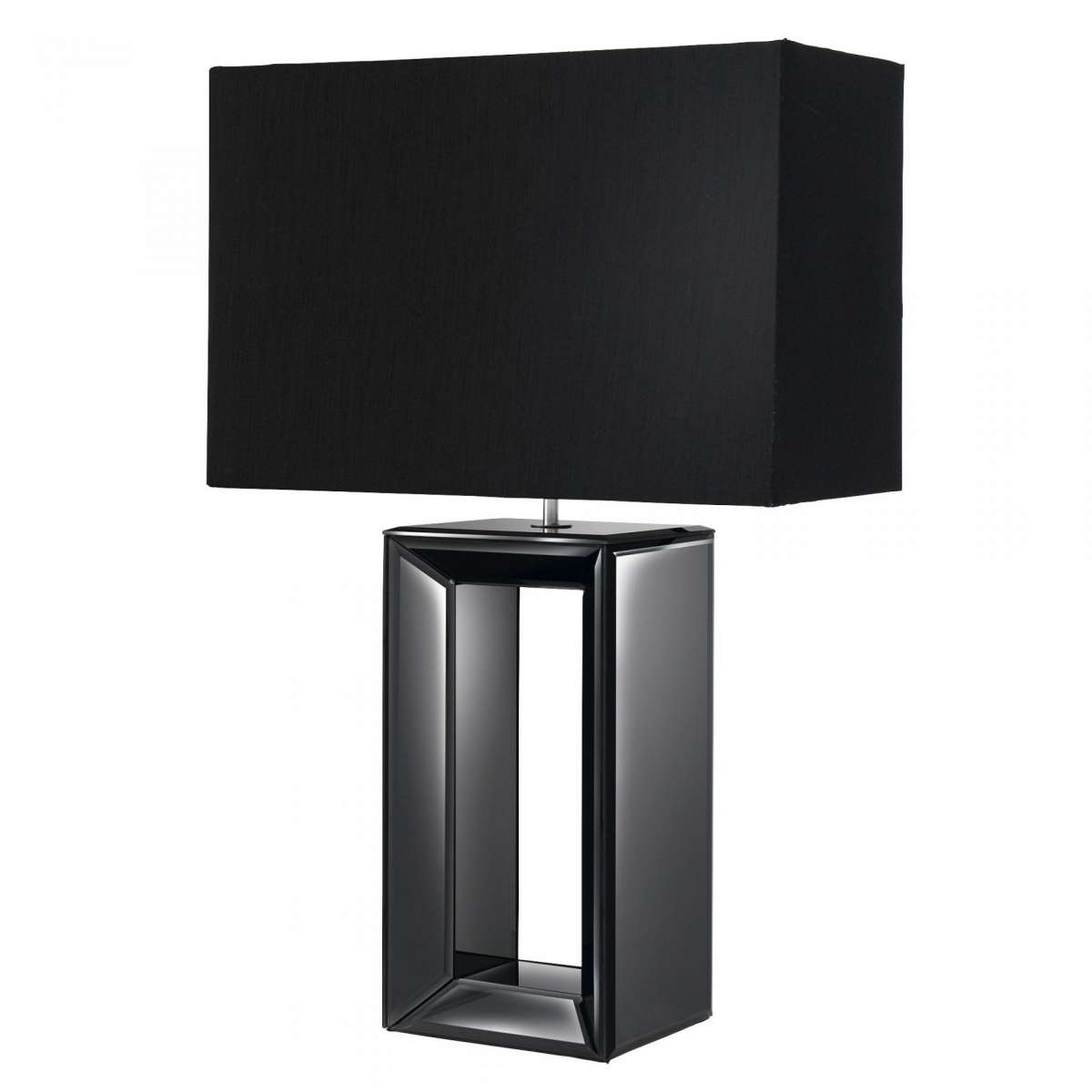 Black Mirror Reflection Table Lamp With Oblong Faux Silk Black Shade