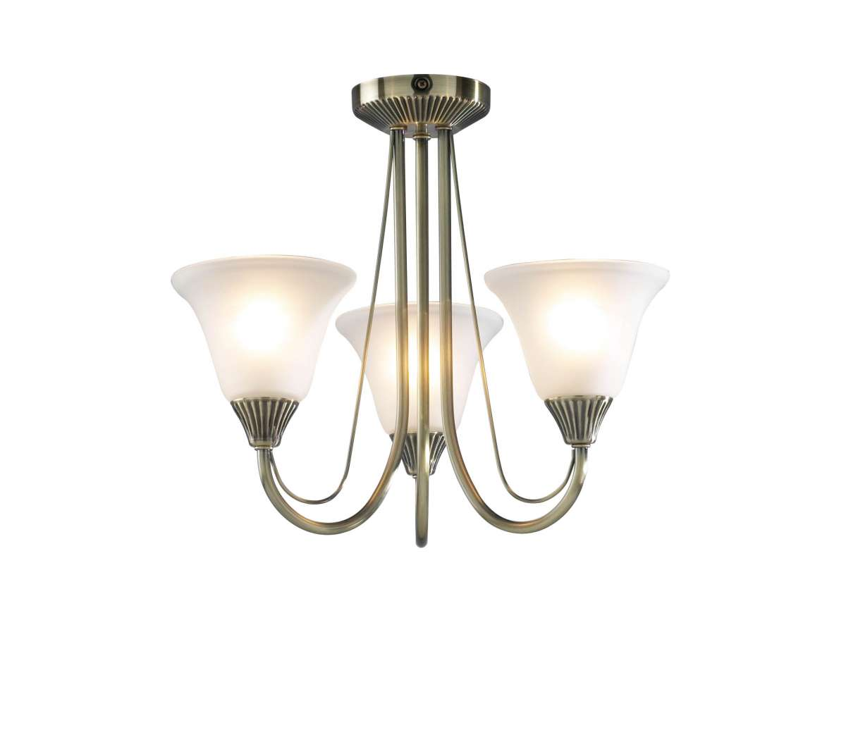 Boston 3-Light Antique Brass Semi-Flush Fitting