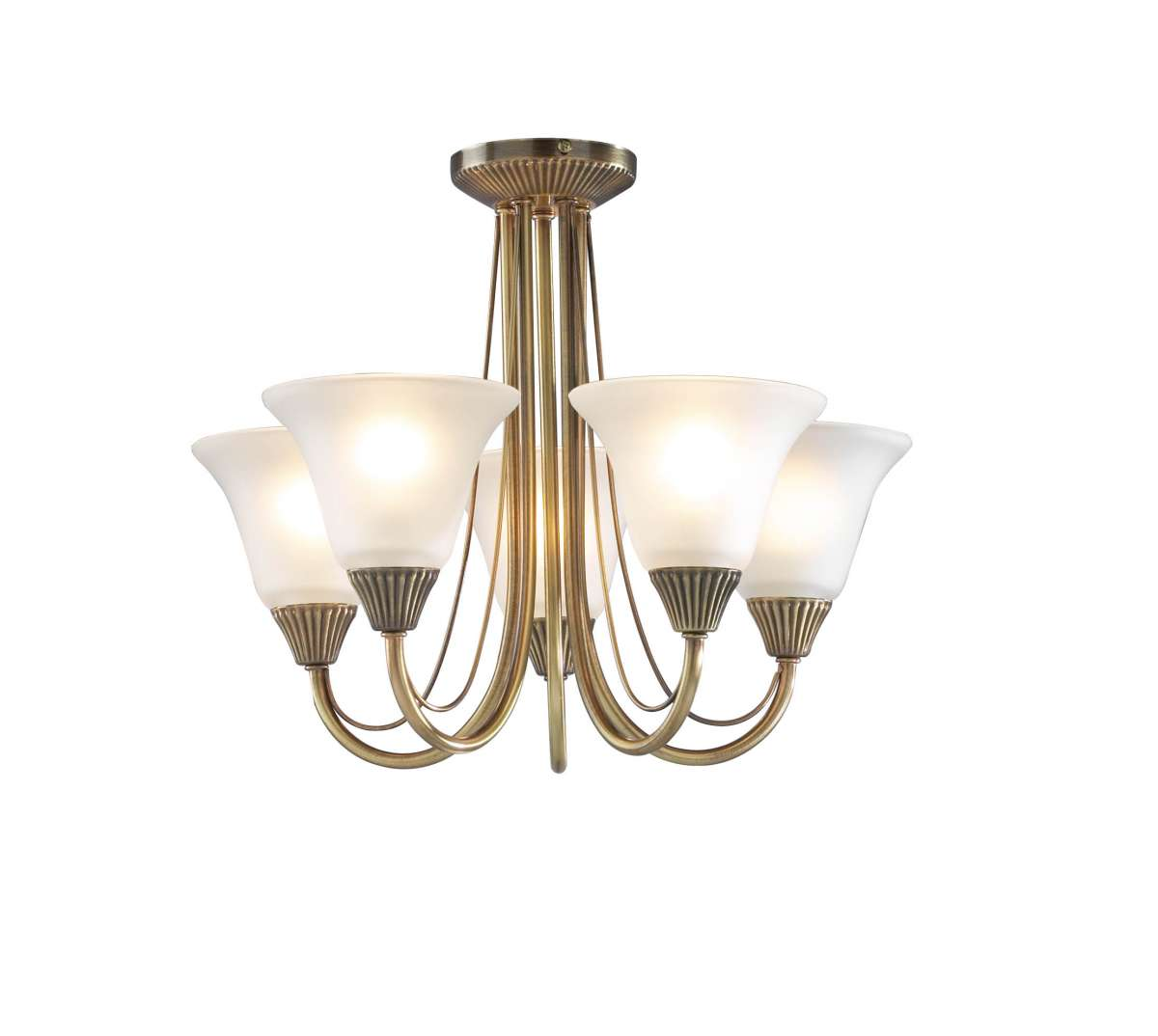 Boston 5-Light Antique Brass Semi-Flush Fitting