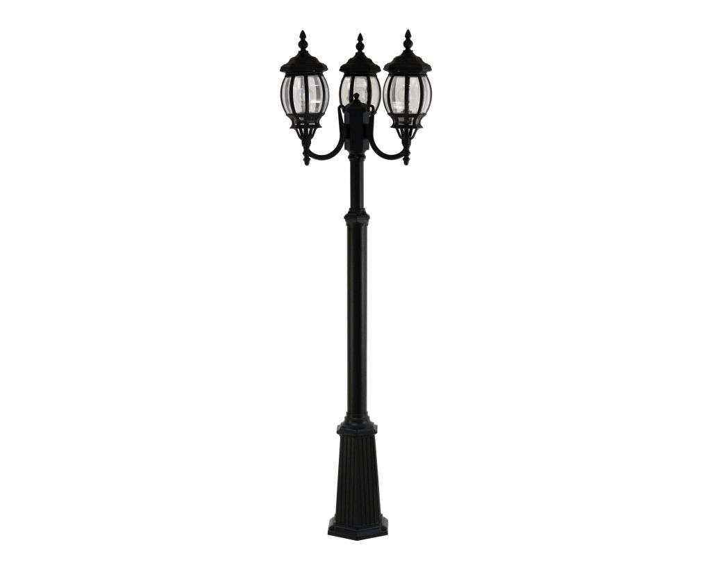 Boston 6-Round Panel, 3-Headed Tall Telescopic Post Black