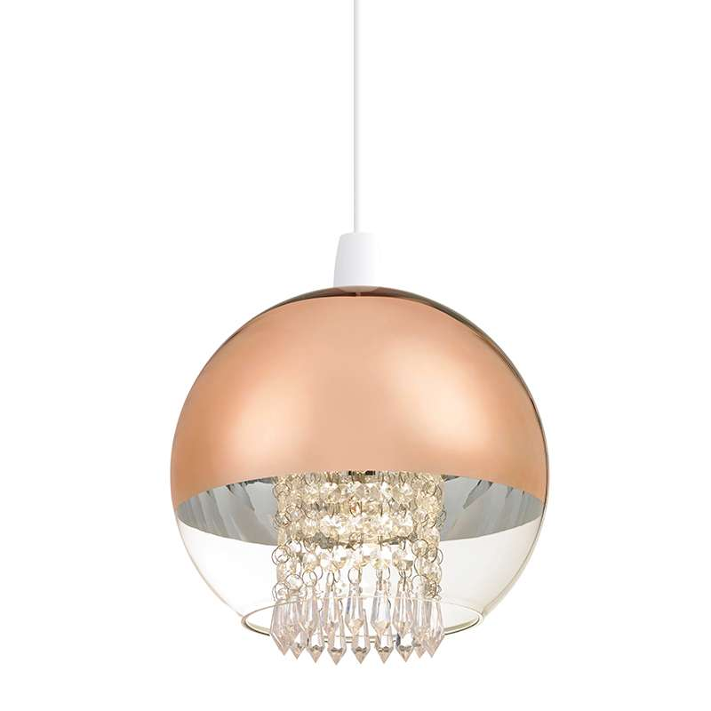 Boston Non Electric 60W Pendant Clear & Copper Glass